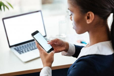 Top view of Business woman using phone