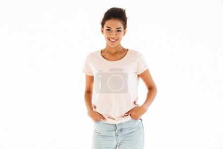 Portrait of pretty african american woman smiling on camera and