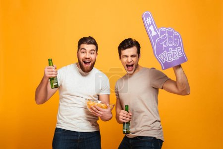 Portrait of a two cheerful young men