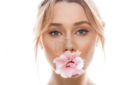 Photo of amazing woman 20s with brown hair in bun and makeup loo