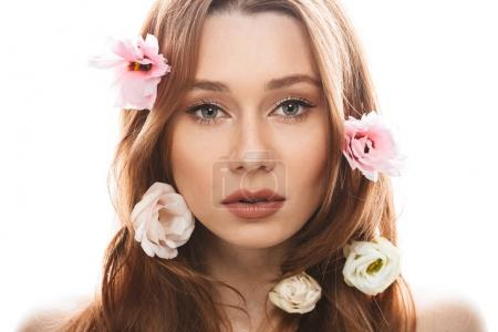 Sensual young woman 20s wearing makeup looking on camera with be