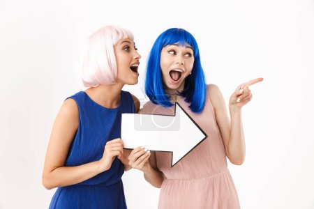Photo for Portrait of two excited nice women wearing blue and pink wigs holding blank copyspace arrow pointer together isolated over white background - Royalty Free Image