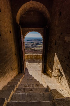 view from Ancient medieval Loarre knight's Castle in Spain