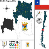 Vector map of Bio Bio region and location on Chilean map