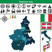 Piedmont with regions Italy