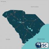 Map of state South Carolina USA