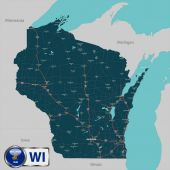 Map of state Wisconsin USA