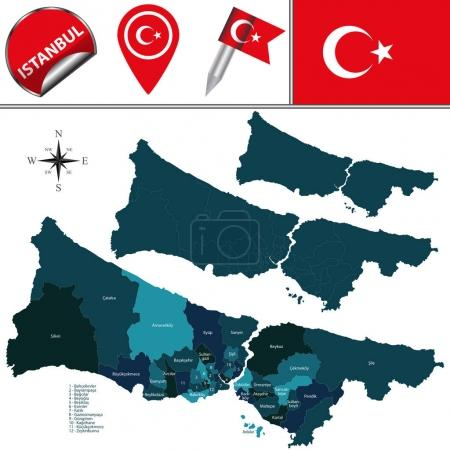 Map of Istanbul with Districts