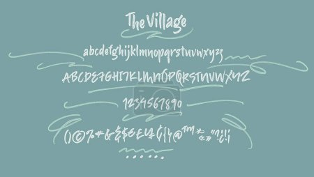 Illustration for Bold alphabet letters: uppercase, numbers. Vector alphabet. Hand drawn letters. Letters of the alphabet written with a soft dry watercolor paint brush - Royalty Free Image