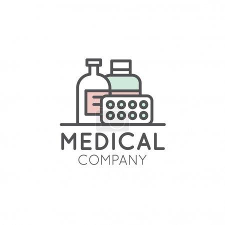 Illustration pour Logo d'illustration de style d'icône vectorielle pour la pharmacie médicale, laboratoire, clinique, compagnie de médecine, distributeur ou producteur - image libre de droit