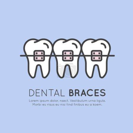 Illustration Logo Badge or Dental Tooth Braces Installation