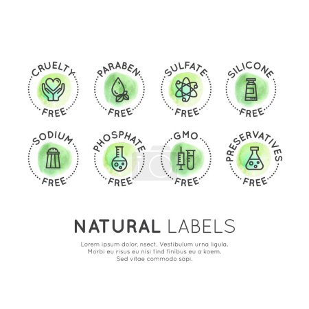 Illustration for Isolated Vector Style Watercolor Illustration Logo Set Badge Ingredient Warning Label Icons. GMO, SLS, Paraben, Cruelty, Sulfate, Sodium, Phosphate, Silicone, Preservative Free Organic Product Stickers - Royalty Free Image