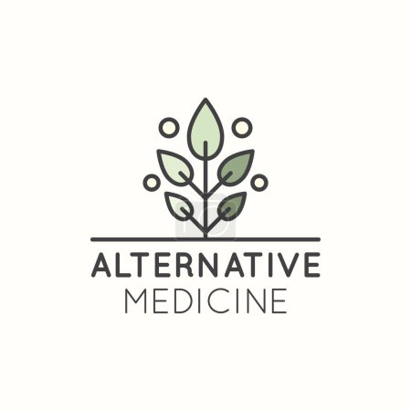 Illustration for Vector Icon Style Logo Sign of  Alternative Medicine. IV Vitamin Therapy, Anti-Aging, Wellness, Ayurveda, Chinese Medicine. Holistic centre. Green Energy Tree - Royalty Free Image