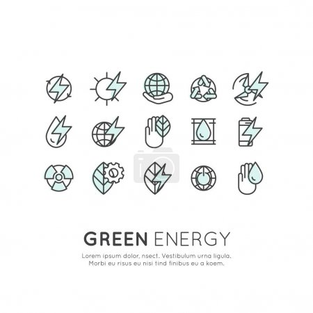 Vector Icon Style Logo Set of thin line icons of e...