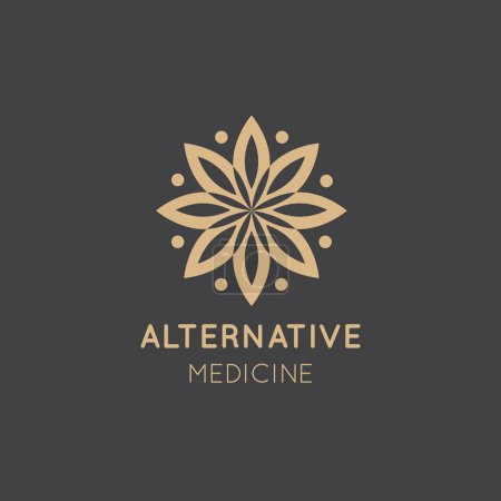 Illustration for Vector Icon Style Logo Sign of  Alternative Medicine. IV Vitamin Therapy, Anti-Aging, Wellness, Ayurveda, Chinese Medicine. Holistic centre. Green Energy Mandala - Royalty Free Image