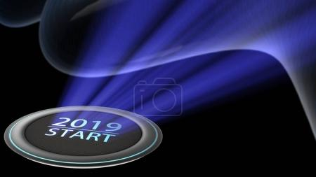 New year 2019 blue lighting with BTN to press and start