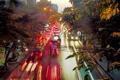 Blurred image of a asian traffic jam