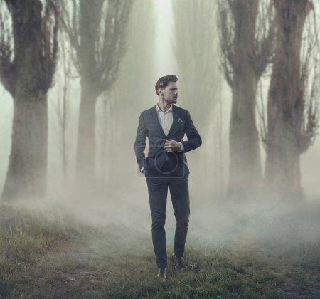 Foto de Alto y guapo hombre de negocios en el campo - Imagen libre de derechos