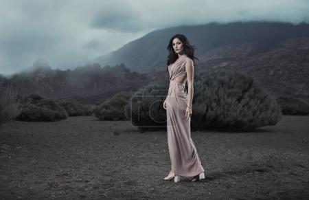 Photo for Portrait of a sensual woman in a tropical place - Royalty Free Image