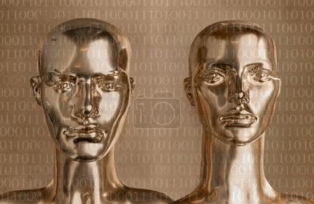Two pieces of human golden scupltures