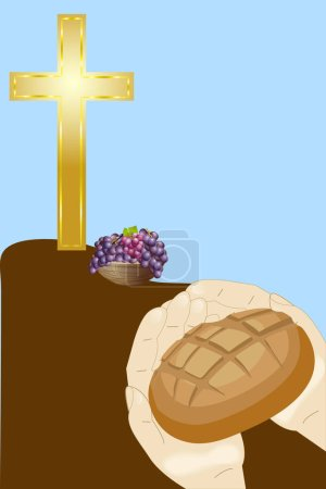christian cross,bread and grape
