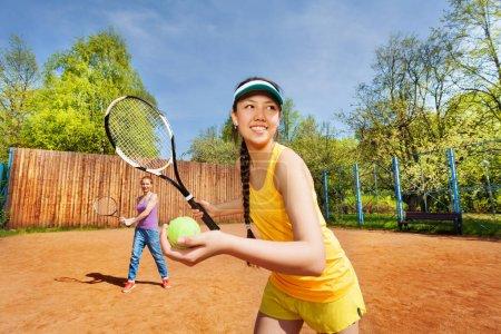 Female double tennis partners