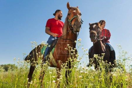 two male equestrians on horses