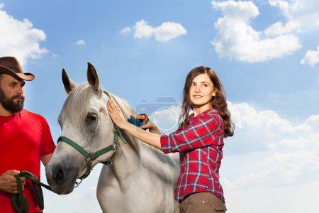 woman brushing her white horse
