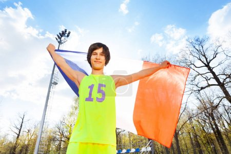 athlete with flag of France