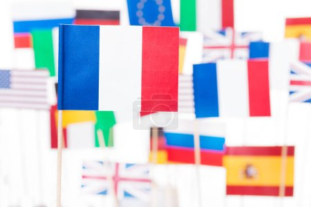 French flag against European and USA flags
