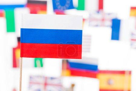 Russian flag against European and USA flags