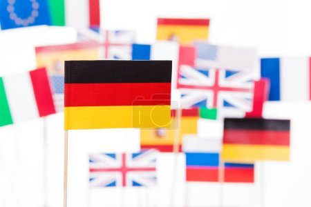 German flag against European and USA flags
