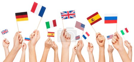 flags of USA and European countries