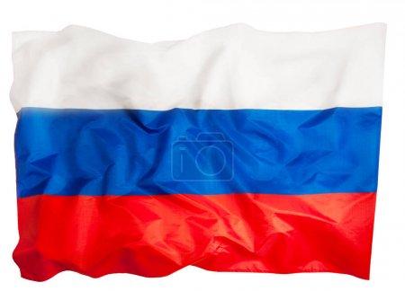 Photo pour Grand drapeau russe ébouriffé soyeux isolé sur blanc - image libre de droit