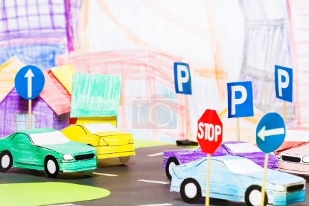 Handmade paper maquette traffic on roads with cros...
