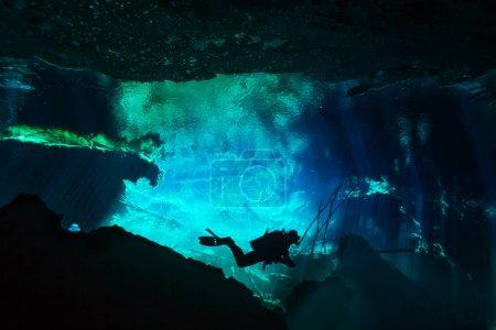 diver exploring Azul cenote