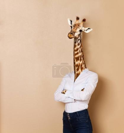 Portrait of giraffe woman