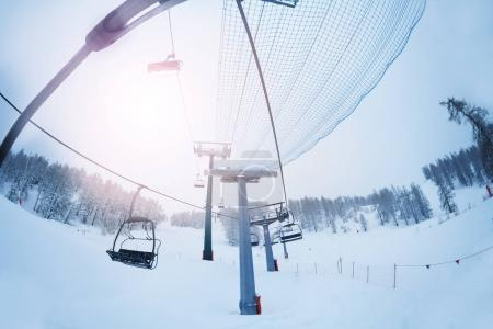 Empty cabins of chairlift