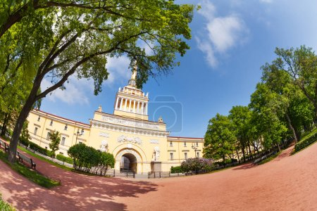 Fish-eye picture of central tower of the Admiralty building in St. Petersburg, view from the Alexander Gardens at sunny spring day