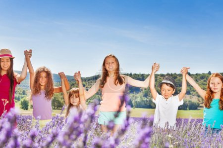 Six happy age-diverse kids standing together in a row in lavender field, holding hands up at sunny day