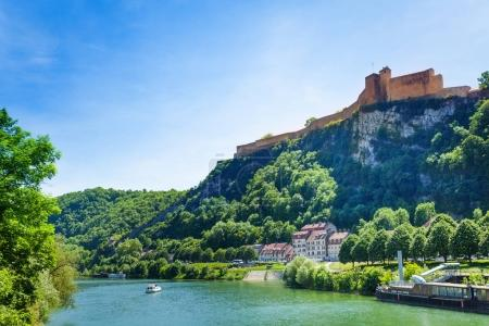 Scenic view of famous citadel on the summit of Saint-Etienne mount in Besancon, at sunny day, France