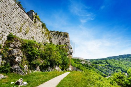 Beautiful landscape of Besancon with defensive wall of citadel at sunny day