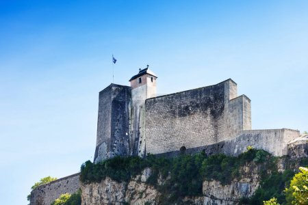 Low angle view of the citadel of the walled city in Besancon against blue sky, France