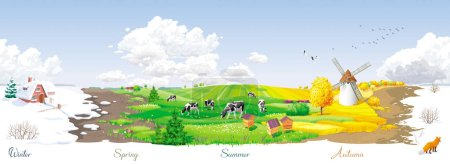 Illustration for All the year round - ecological concept - seamless landscape with four seasons (winter, spring, summer, autumn) of the year at a rural panorama with fields, cows, windmill and apiary. For packs, posters, banners and Calendars. - Royalty Free Image