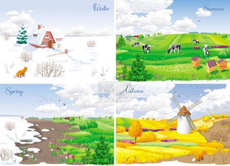 Illustration for Four seasonal rural landscapes (winter, spring, summer, autumn) with fields, cows, windmill and apiary. - Royalty Free Image