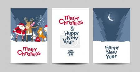 Set of Merry Christmas and Happy New Year vector c...