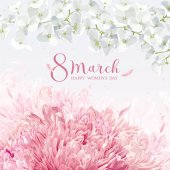 Chrysanthemums and Apple blossom for 8 March vector greeting car