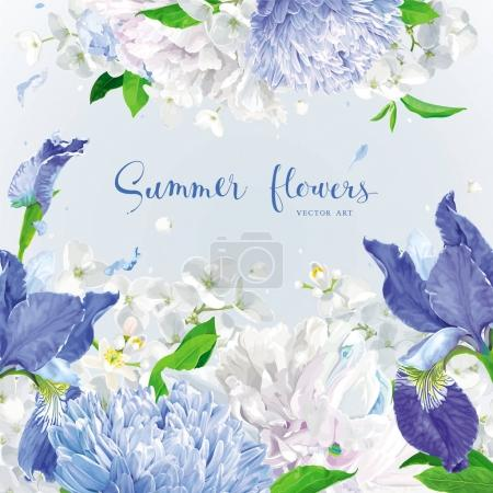 Illustration for Summer vintage floral round vector background with blooming Chrysanthemums, blue Irises, Asters, Hydrangeas, Peonies and Apple blossom  and  other  garden  flowers. Botanical drawing in watercolor style. For invitation and greeting card, wedding deco - Royalty Free Image