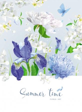 Illustration for Vintage vector bouquet:blooming Chrysanthemums, blue Irises, Asters, Peonies, Apple blossom, garden flowers. Botanical drawing in watercolor style. Template for greeting cards, wedding decorations, spring summer sales - Royalty Free Image