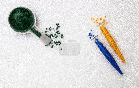 Polymeric dye. Colorant for plastics. Pigment in the granules.